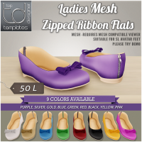 TD Templates - Ladies Zipped Ribbon Flats