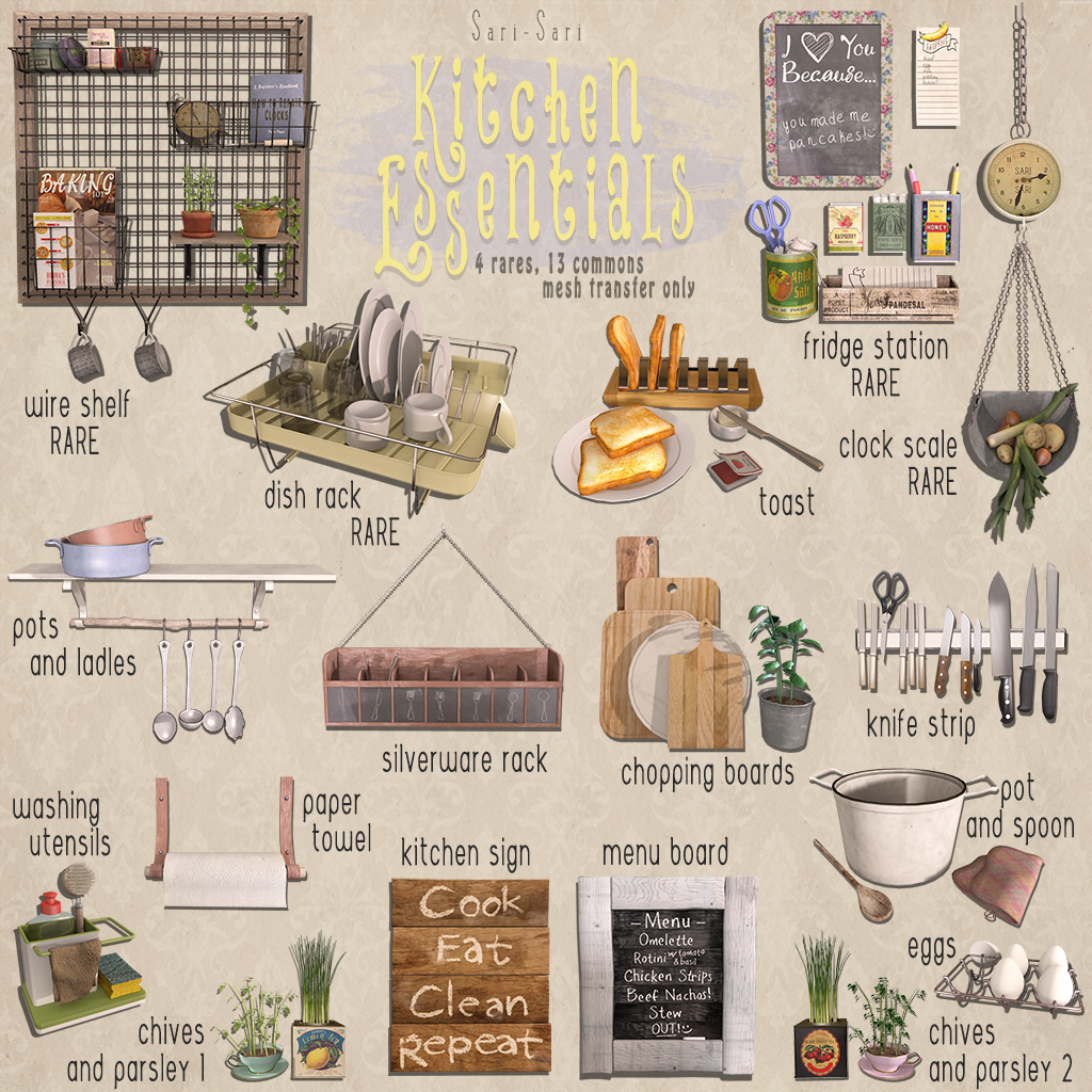 Kitchen Essentials Accessories L 50 Per Play 17 To Collect 4 Rare Perms Transfer Mesh 100 Land Impact Varies